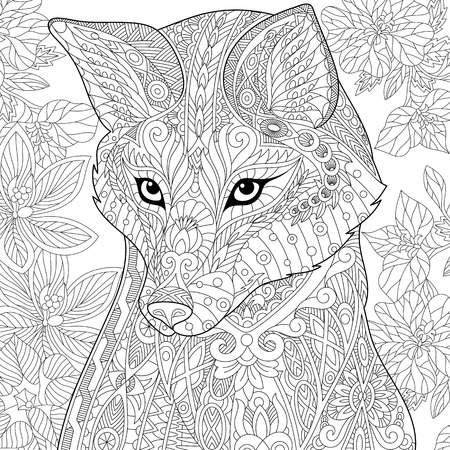 Stylized cartoon wild fox animal and hibiscus flowers. Freehand sketch for adult anti stress coloring book page with doodle and zentangle elements. Illustration