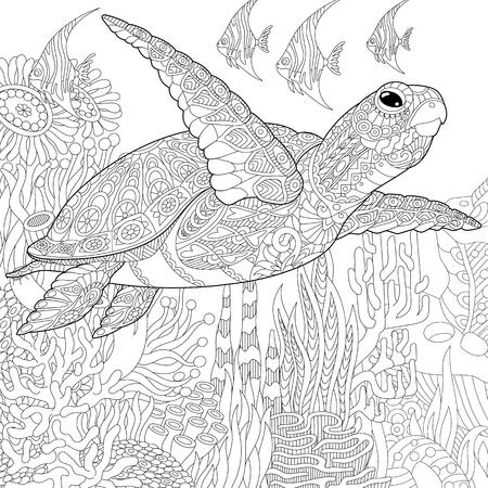 Meeresschildkröte Doodle-Stil Färbung Seite. Unterwasser-Vektor ...