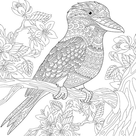Stylized australian kookaburra bird and cherry blossoming tree. Freehand sketch for adult anti stress coloring book page with doodle and zentangle elements. Иллюстрация