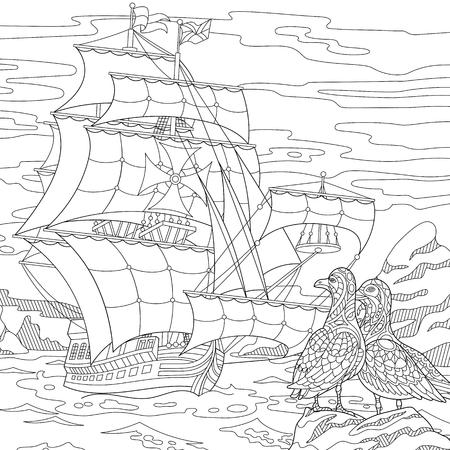 Coloriage Ancien Navire De Guerre De Galere Dessin D Equisse A Main Levee Pour Le Livre De Coloriage Antistress Adulte En Style Zentangle Clip Art Libres De Droits Vecteurs Et Illustration Image