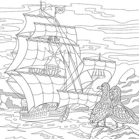 Stylized seagull birds and marine sailing ship. Freehand sketch for adult anti stress coloring book page with doodle and zentangle elements. Ilustração