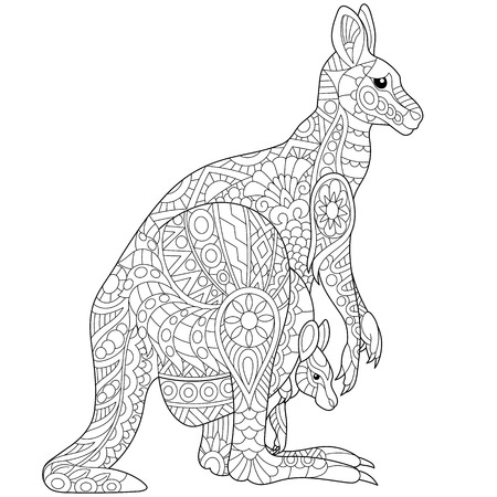 Stylized australian kangaroo family - mother and her young cub. Freehand sketch for adult anti stress coloring book page with doodle and zentangle elements. Illustration