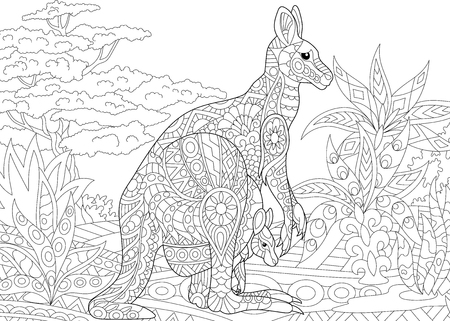 Stylized australian kangaroo family - mother and her young cub in jungle landscape. Freehand sketch for adult anti stress coloring book page with doodle and zentangle elements. Illustration