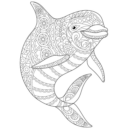 Stylized ocean dolphin animal. Freehand sketch for adult anti stress coloring book page with doodle and zentangle elements.