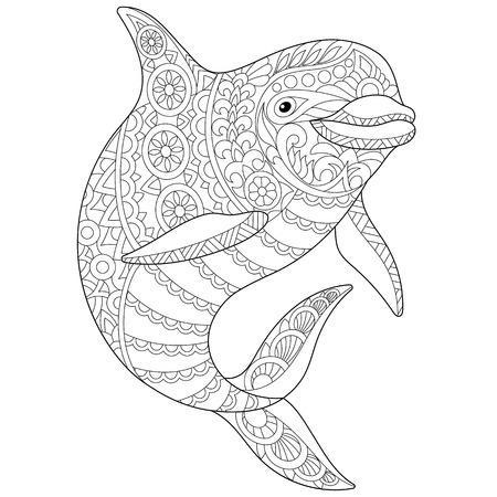 Animale stilizzato delfino oceano. Schizzo a mano libera per la pagina del libro da colorare antistress per adulti con elementi doodle e zentangle. Archivio Fotografico - 70128258