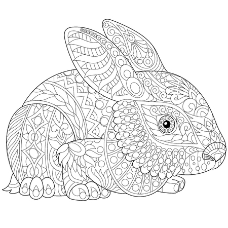 Stylized rabbit (bunny, hare), isolated on white background. Freehand sketch for adult anti stress coloring book page with doodle and zentangle elements. Иллюстрация