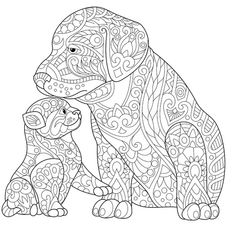 Stylized cute friends cat (young kitten) and labrador dog (puppy). Freehand sketch for adult anti stress coloring book page with doodle and zentangle elements. Illustration