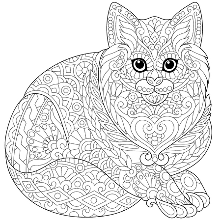 Stilisierte Nett Husky-Hund (Welpen). Handskizze Für Erwachsene Anti ...