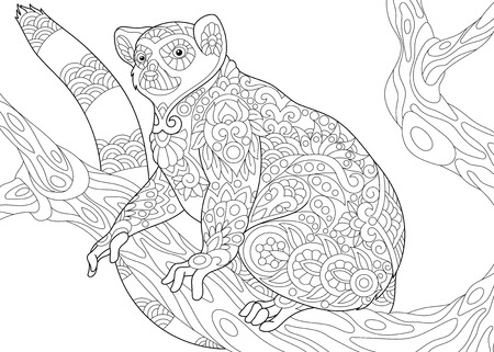 Stylized wild lemur, madagascar mammal animal. Freehand sketch for adult anti stress coloring book page with doodle and zentangle elements.
