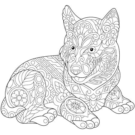 Perro husky lindo estilizado (perrito). Boceto a mano alzada para adultos contra el estrés página del libro para colorear con doodle y elementos zentangle.