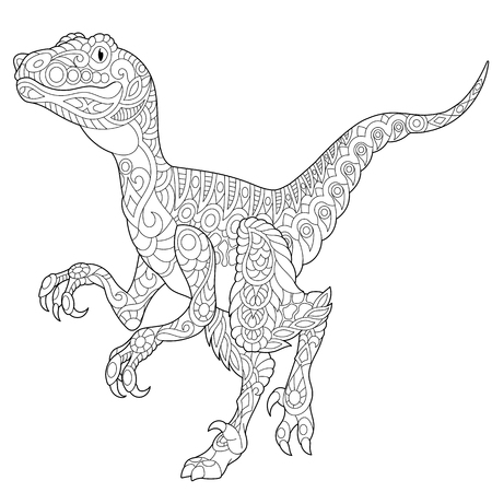 Stylized velociraptor dinosaur of the late Cretaceous period, isolated on white background. Freehand sketch for adult anti stress coloring book page with doodle and zentangle elements.