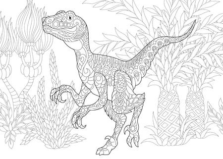 늦은 백악기의 양식화 velociraptor 공룡. 낙서 및 zentangle 요소와 성인 안티 스트레스 색 책 페이지에 대 한 프리 핸드 스케치.