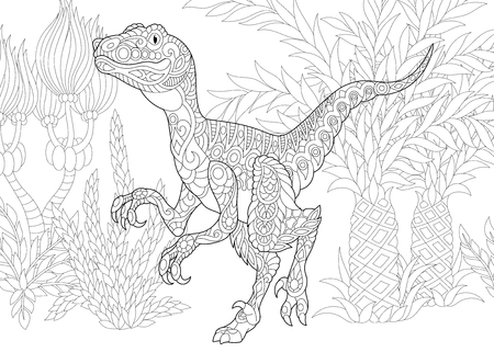 Stylized velociraptor dinosaur of the late Cretaceous period. Freehand sketch for adult anti stress coloring book page with doodle and zentangle elements.