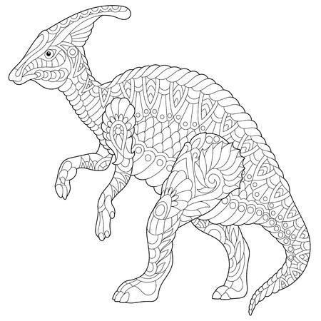 Gestileerde hadrosaur dinosaurus van Krijtperiode, geïsoleerd op een witte achtergrond. Freehand schets voor volwassen anti stress kleur boek pagina met doodle en zentangle elementen. Stock Illustratie