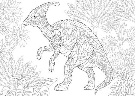 Estilizada dinosaurio hadrosaurio de la zona central hacia finales del periodo Cretácico. boceto a mano alzada para la pintura con el estrés página contra adultos libro con Doodle y del zentangle. Ilustración de vector