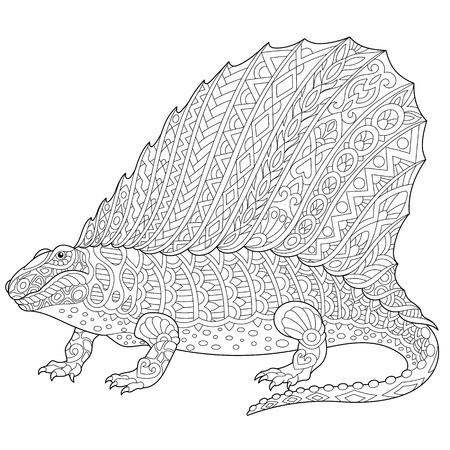 Stylized dimetrodon dinosaur, fossil reptile of the Permian period, isolated on white background. Freehand sketch for adult anti stress coloring book page with doodle and zentangle elements. Illustration