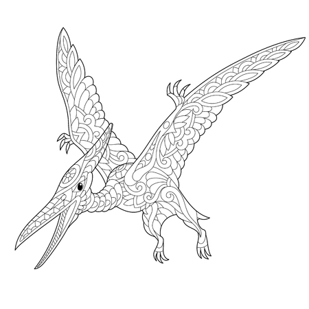 cretaceous: Stylized pterodactyl dinosaur, pterosaur of the late Jurassic period, isolated on white background. Freehand sketch for adult anti stress coloring book page with doodle and zentangle elements.