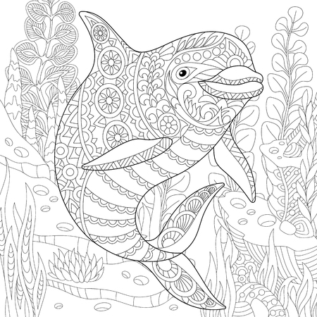 Stylized cute dolphin swimming among underwater seaweed. Freehand sketch for adult anti stress coloring book page with doodle and zentangle elements.