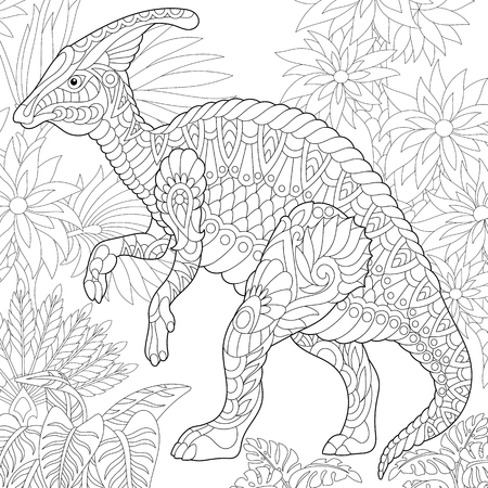 Stylized hadrosaur dinosaur of the middle to late Cretaceous period. Freehand sketch for adult anti stress coloring book page with doodle and zentangle elements.
