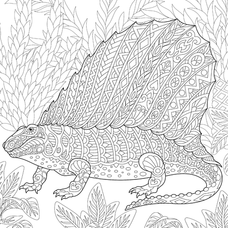 Stylized dimetrodon dinosaur, fossil reptile of the Permian period. Freehand sketch for adult anti stress coloring book page with doodle and zentangle elements. Illustration