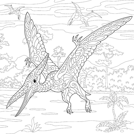 cretaceous: Stylized pterodactyl dinosaur, pterosaur of the late Jurassic period. Freehand sketch for adult anti stress coloring book page with doodle and zentangle elements. Illustration