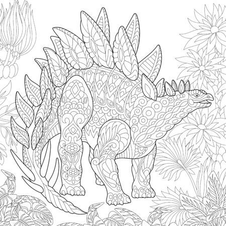 Stylized stegosaurus dinosaur of the Jurassic and early Cretaceous periods. Freehand sketch for adult anti stress coloring book page with doodle and zentangle elements. Illustration