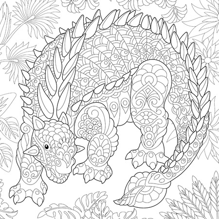 Stylized ankylosaurus dinosaur of the Cretaceous period. Freehand sketch for adult anti stress coloring book page with doodle and zentangle elements.