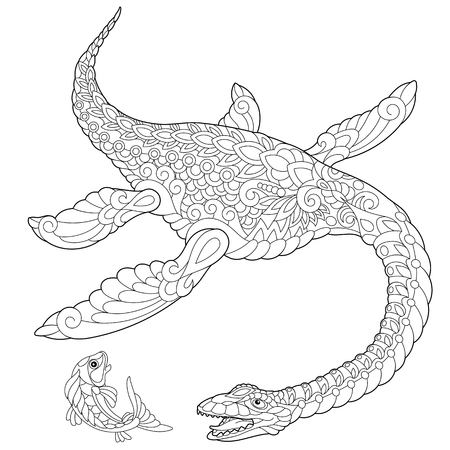 mesozoic: Stylized plesiosaurus dinosaur of the Mesozoic era, isolated on white background. Freehand sketch for adult anti stress coloring book page with doodle and zentangle elements. Illustration