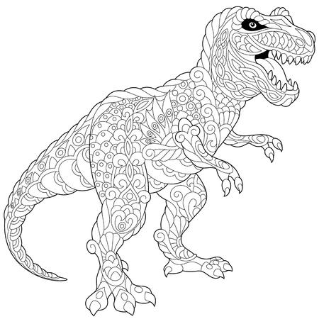 Dinosaurio estilizado del tyrannosaurus (t rex) del último período cretáceo, aislado en el fondo blanco. Boceto a mano alzada para adultos contra el estrés página del libro para colorear con doodle y elementos zentangle. Ilustración de vector