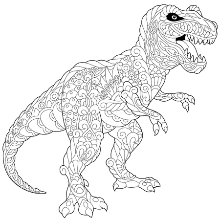 Stylized tyrannosaurus (t rex) dinosaur of the late Cretaceous period, isolated on white background. Freehand sketch for adult anti stress coloring book page with doodle and zentangle elements. Stock Illustratie