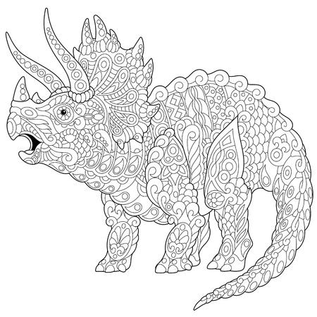 흰색 배경에 고립 된 백악기의 마지막에 일치시키는 트리케라톱스 공룡 생활. 일러스트