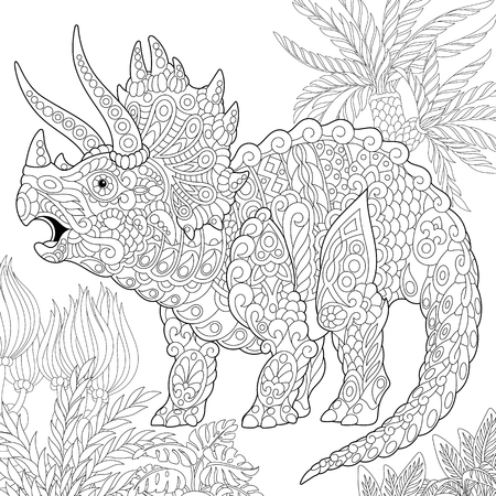 Stylized triceratops dinosaur living at the end of the Cretaceous period. Freehand sketch for adult anti stress coloring book page with doodle and zentangle elements.