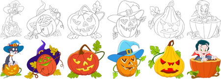 Cartoon halloween set. Cat in a hat sitting on gourd, four carving pumpkins with different emotions, little child boy in a costume of vampire Dracula. Coloring book pages for kids.