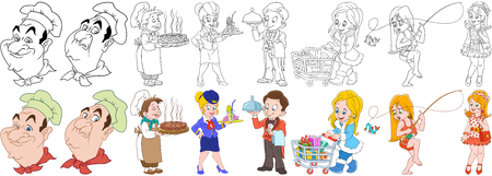 shop for animals: Cartoon working people set. Collection of professions. Chef, cook with a pizza, stewardess, waiter with a tray, shopaholic woman, girl fishing, fashion lady. Coloring book pages for kids. Illustration