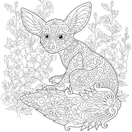 Stylized fennec fox and mallow flowers. Freehand sketch for adult anti stress coloring book page with doodle  elements. 向量圖像