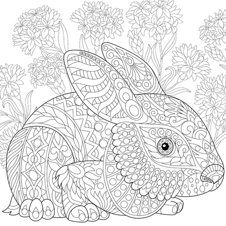 Stylized rabbit (bunny, hare) and cornflowers. Freehand sketch for adult anti stress coloring book page with doodle elements. Stock Illustratie