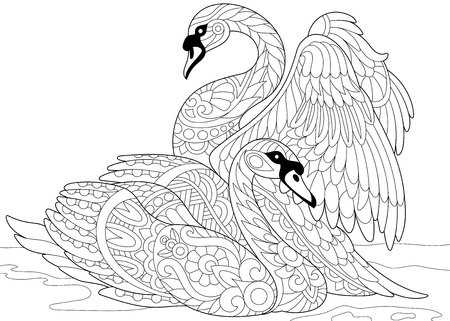 Stylized couple of swans swimming in the pond or lake water. Freehand sketch for adult anti stress coloring book page with doodle elements. Ilustração