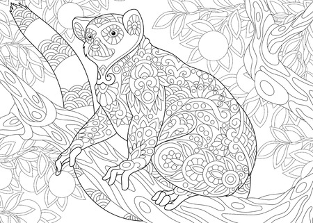 Stylized wild lemur, madagascar mammal animal. Freehand sketch for adult anti stress coloring book page with doodle elements.