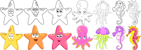 Cartoon animals set. Underwater starfish, octopus (poulpe, cuttlefish, squid or devilfish), jellyfish (medusa), seahorse making air kiss. Coloring book pages for kids.