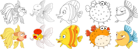 oranda: Cartoon animals set. Goldfish in beret making air kiss, amazed and surprised butterfly fish, sad puffer fish (blowfish, sea porcupine, fugu), doubting piranha in thought. Coloring book pages for kids.