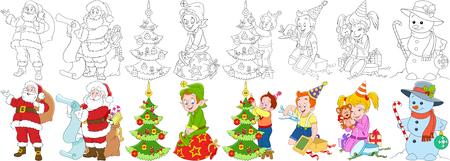 Cartoon neues Jahr festgelegt. Weihnachtsmann mit Geschenken und seinem Helfer Elf, Junge und Mädchen mit Weihnachtsgeschenkkästen, Kind, das Tannenbaum, Schneemann, Süßigkeitstock und Flitter verziert. Malbuchseiten für Kinder. Standard-Bild - 77912339