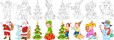 Cartoon new year set. Santa claus with presents and his helper elf, boy and girl with christmas gift boxes, child decorating fir tree, snowman, candy stick and bauble. Coloring book pages for kids.