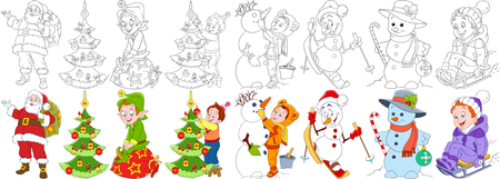 Cartoon christmas set. Santa claus with presents and his helper elf, child decorating fir tree, snowman skiing, candy stick and bauble, young boy sledding. Coloring book pages for kids.