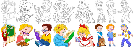 genial: Cartoon school set. Young teacher pointing at the blackboard, pupils reading textbooks, girl with magnifier, schoolboy holding backpack, boy chess player, rapper singer. Coloring book pages for kids.