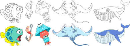 Cartoon animals set. Underwater fish, worm making air kiss, jellyfish (medusa), manta ray (stingray), blue whale (cachalot). Coloring book pages for kids. Illustration