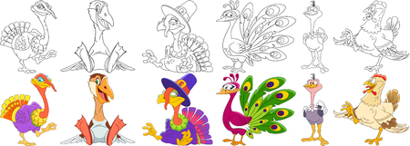 Cartoon animals set. Collection of farm birds. Turkey on Thanksgiving Day, goose (duck), peacock (peafowl), ostrich (emu), hen (chicken, cock or rooster). Coloring book pages for kids. Illustration