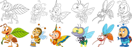 Cartoon animals set. Collection of insects. Busy ant, bee (bumblebee) with honey, butterfly, house fly, mosquito (gnat, midge), ladybug (ladybird). Coloring book pages for kids. Reklamní fotografie - 77976413