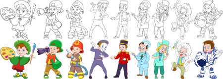 Painter, photographer, firefighter (fireman), mime actor, porter (bellboy, bellman, doorman, doorkeeper), nurse, doctor, scientist, astronaut (spaceman, cosmonaut). Coloring book pages for kids.