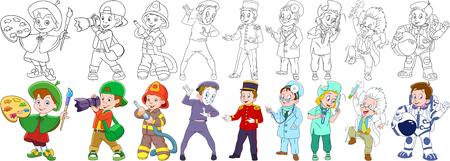 Schilder, fotograaf, brandweerman (brandweerman), mime acteur, portier (bellboy, bellman, deurman, portier), verpleegster, arts, wetenschapper, astronaut (spaceman, kosmonaut). Kleurboekbladen voor kinderen. Stock Illustratie