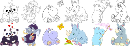 Cartoon animals set. Collection of mammals. Panda bears in love, mammoth (elephant), hippo (hippopotamus, behemoth), butterfly, rhino (rhinoceros) and daisy flower. Coloring book pages for kids. Illustration